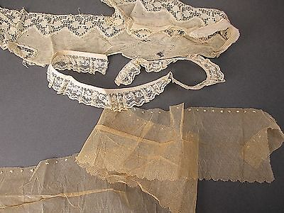 Antique Lace lot 3 PC Victorian 1900s lace