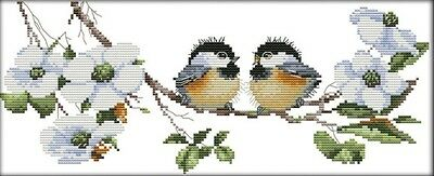 Happy Birds. 14CT counted cross stitch. Craft brand new