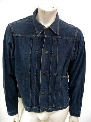Vintage 1940s One Pocket Pleated Indigo Denim Jean Jacket Selvedge Size LARGE