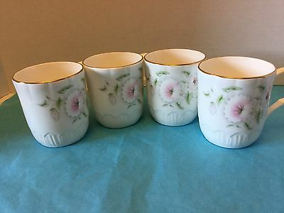 Crown Trent Fine Bone China 4 White Pink Floral Mug Cup Staffordshire England