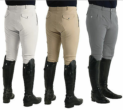 HyPERFORMANCE Mens Pleated Self Seat Stretch Agate Cool Horse Riding Breeches