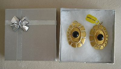Pre Columbian Replica Earrings 24K Gold Plated With Black Stone Galeria Cano Jew