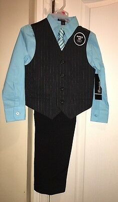 NWT George Boy's  4pc Suit Special Occasion Dress Set Pinstripe Blue Size 4