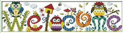 Owl Welcome Rainbow colourful 14CT counted Cross stitch kit Craft brand new