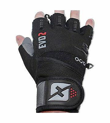 2016 Evo 2 Weightlifting Gloves with Integrated Wrist Wrap Support-Double... New