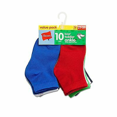 Hanes Boys` Toddler Ankle Socks 27/10 2T-3T Assorted New