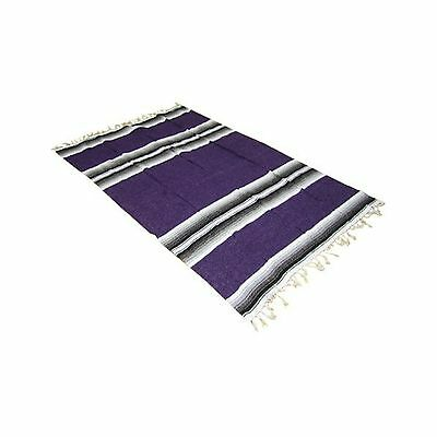 "54"" X 80"" Purple Mexican Yoga Blanket New"