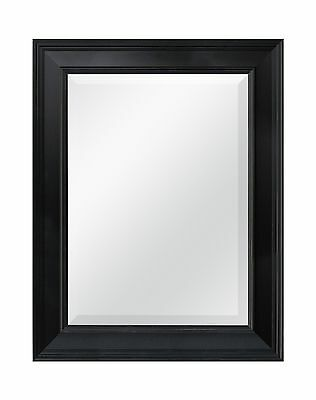 MCS Black Grooved Beveled Rectangular Wall Mirror 21-Inch by 27-Inch New
