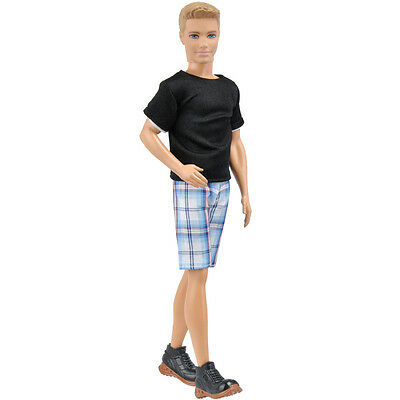 E-TING Doll Black Casual Shirt Short Pants Clothes Outfit For Barbie Ken Dolls A