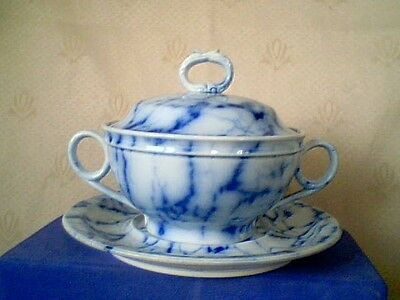 Antique Davenport 1849 Blue White Sauce Tureen With Underplate Mint Orig Cond