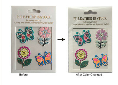 Glow PU Leather Change Colored Flowers Butterfly DIY Phone Laptop Decal Sticker
