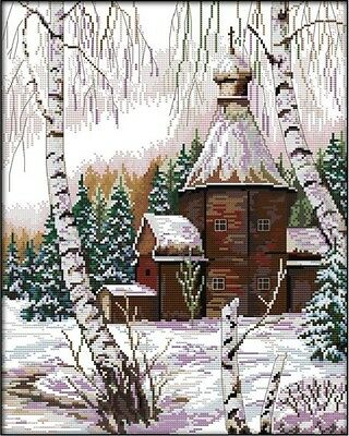 Winter Scenery. Snow House Tree. 14CT counted cross stitch kit. Craft brand new