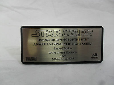 Star Wars Revenge of the Sith Anakin Skywalker Master Replica Lightsaber Plaque