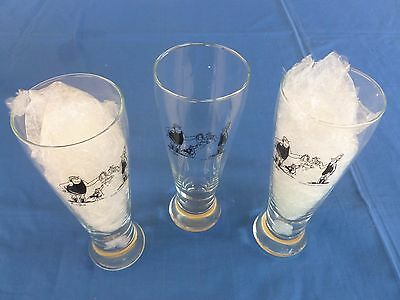 **RARE** 3 x Footrot Flats 1/2 litre beer glasses - Murray Ball