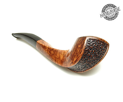 Smoking Pipes Wooden Carved (Diamond Head with Swirl Shank -Semi Rusticated)