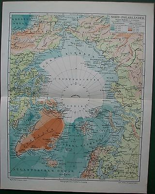 1898 North Pole Greenland Iceland Norway North America Antique Victorian Map