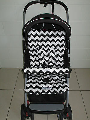 FUNKY BABYZ-Black chevron reversible universal pram liner-Size,Buy Covers option