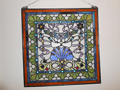 "24"" x 24""  Colorful Tiffany Victorian  Style stained glass  window panel"