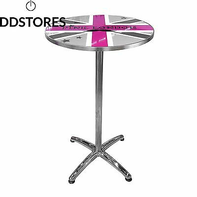 Totally Addict PK3410 London Pink Table de Bar Acier Inoxydable 60 x 105 cm