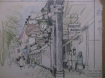 COLOURED GRAPHITE DRAWING by FREDERICK GEORGE WILLS 1901-1993 R.I. PANTILES 1965