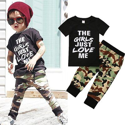 Newborn Toddler Kid Girls Baby Boys Top T-shirt+Camo Pants Set Clothes Outfits