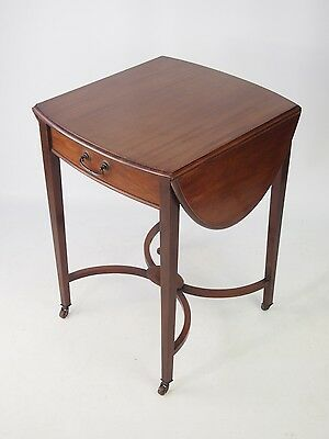 Small Antique Edwardian Drop Leaf Table with Drawer -Vintage Mahogany Lamp Table