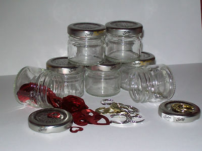 12 Small recycled empty glass jars/storage/craft/jewelry making