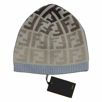 Fendi Baby White/Blue Signature Print Beanie Hat Sizes S & M