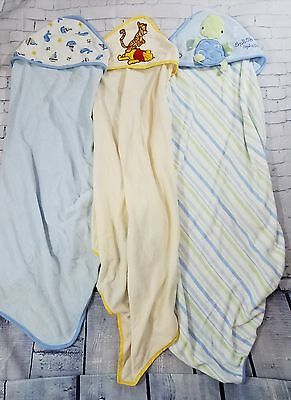 Lot of 3 Baby Boy Hooded Bath Towels New Born/infant/Toddler One Size