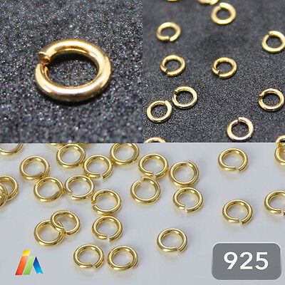 925 STERLING SILVER GOLD PLATED  4 5 6 0PEN JUMP RINGS Jewellery Making Findings