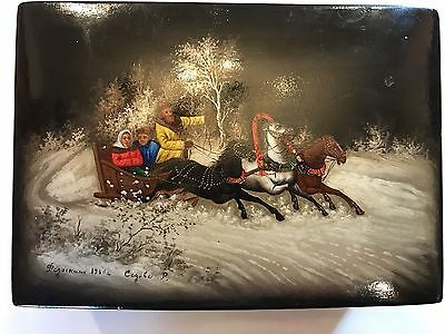 Antique Vintage Hand Painted Russian Lacquer Folk Art Wooden Box