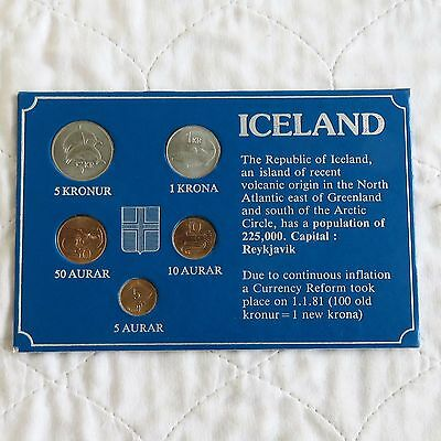 Iceland 1981 5 Coin Uncirculated Set - Card