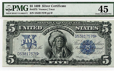 1899 Indian Chief Silver Certificate Fr. #273 ( Vernon | Treat ) $5 - PMG 45 -