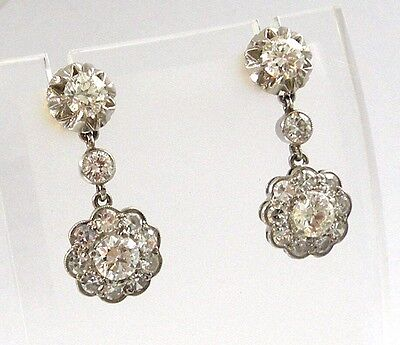 Stunning  Antique Platinum and  18K Gold with  Diamond Earrings, 3,22 ctw!!!