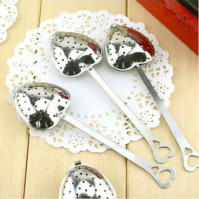 2X Heart Shaped Silver Tea Infuser Strainer Spoon Diffuser Steeper Filter FO