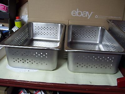 """Lot of 2 Full Size Perforated Stainless Steel Steam Table Pans NSF - 6"""" Deep"""
