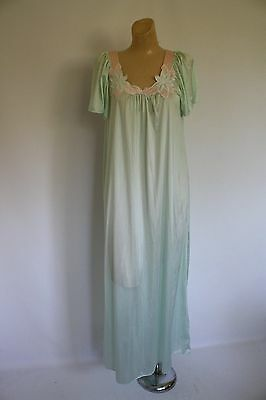 Vintage Gilead Nightgown Modest Minty Green Floral Flutter Sleeve Nightie M/L