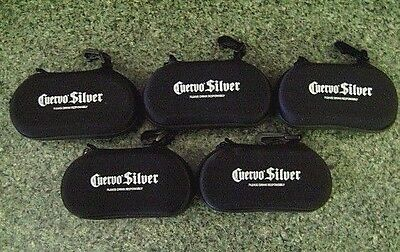 Sunglasses Case Jose Cuervo Silver Black Padded Clam Shell Lot of 5 NOS
