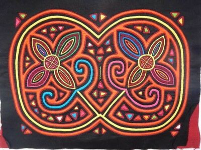 Beautiful 2-layer Flowers Design Mola from San Blas, Panama