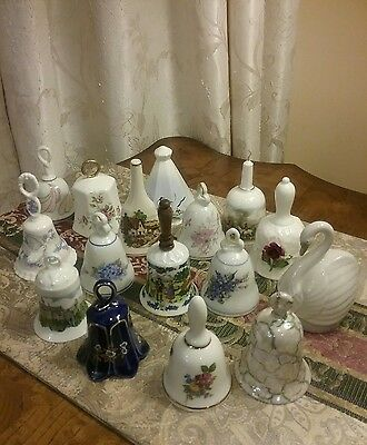 Excellent Quality collection of 16 porcelain  collectible bells. Lot GREAT DEAL
