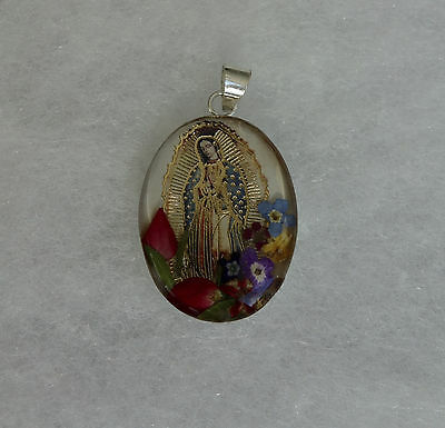 New! * Beautiful Our Lady Of Guadalupe 925 Silver Flower Pendant From Mexico *