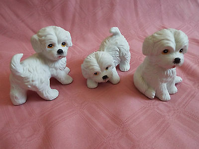 "Set of 3 Vintage Homco 1411 (marked) Porcelain Maltese Dogs 3"" Tall - Adorable!"