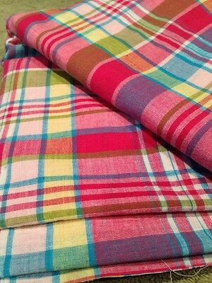 Vintage Cotton Madras Fabric 4 1/2 Yards Pink Red Blue Yellow Green