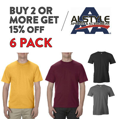 6 Pack Aaa Alstyle 1301 Mens Plain T Shirt Casual Short Sleeve Shirts Cotton Tee