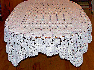"Beautiful Vintage Hand Crocheted Tablecloth, Deep Ivory, 98"" Long, Great Cond."