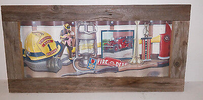 Rustic-Wood Frame-Fireman Holding A Child-Rescue-Tin Picture-Firefighter Decor
