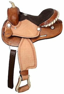 "12"" Double T Youth Barrel Saddle Silver Laced Rawhide Cantle Rough Out Fenders!"