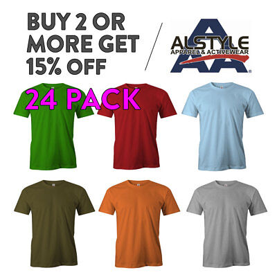 24 Pack Aaa Alstyle 1301 Mens Casual T Shirt Plain Short Sleeve Shirts Cotton