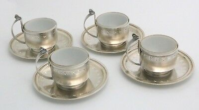 Antique Gorham Sterling Silver Cups and Saucers Aesthetic 1880 Butterfly