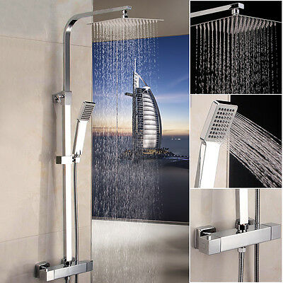 THERMOSTATIC SHOWER MIXER SQUARE TWIN HEAD CHROME BATHROOM EXPOSED VALVE No: SS1